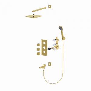 Душевая система TIMO с термостатом Tetra-Thermo SX-0199/17SM Золото матовое