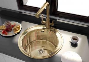 Интегрированная кухонная мойка Zorg Inox PVD SZR-510/205-Bronze