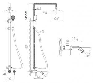 Душевая система ZorG Antic A 201DS-Silver