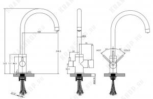 Смеситель для кухни под фильтр Kaiser Merkur 26744-9 Черный