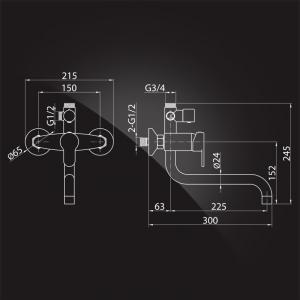 Душевая система Elghansa Shower Systems 2308883-2L (Set-24-Single) Chrome