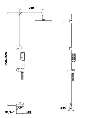Душевая система GANZER GZ25072 Хром