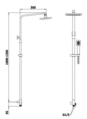 Душевая система GANZER GZ25074 Хром