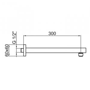 Настенный держатель для тропического душа Webert AC1025560 Черный матовый