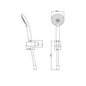 Душевая лейка в наборе Bravat D2113CP-ENG Хром