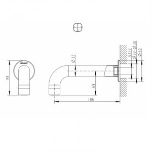 Излив настенный Bravat Built-in FS101C-RUS Хром