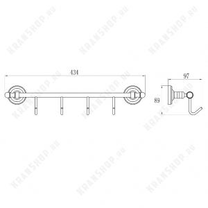 Планка с 4-мя крючками GANZER GZ31074 CHROME