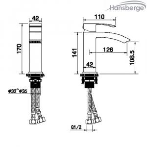 Cмеситель для раковины Hansberge CUBITO H1077BC Черный с хромом
