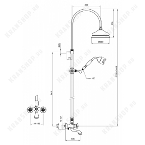 Душевая система Webert Ottocento OT721208065 Бронза