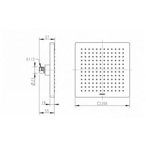Тропический душ Bravat Built-in P7078C-RUS Хром