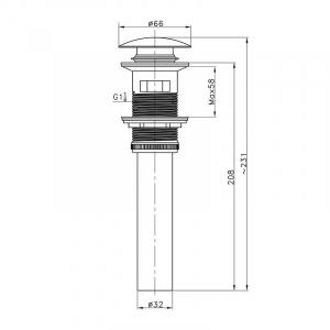 Донный клапан для раковины AltroBagno PU 070208 BiCr Белый/Хром