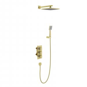 Душевая система TIMO с термостатом Tetra-Thermo SX-0179/17SM Золото матовое