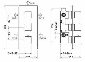 Душевая система TIMO с термостатом Tetra-Thermo SX-0179/03SM Black