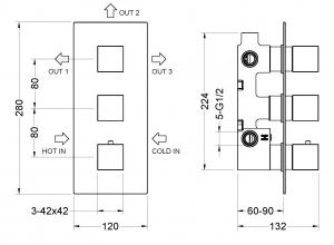 Душевая система TIMO с термостатом Tetra-Thermo SX-0199/00SM Хром