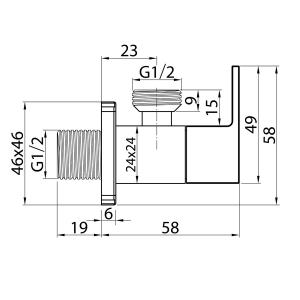 Кран угловой Elghansa Unit VK-019 Chrome