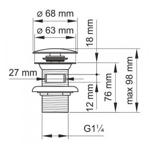 Донный клапан для раковины GANZER F-2E GOLD