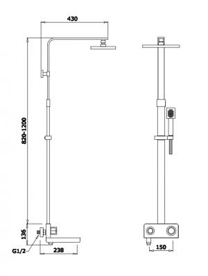 Душевая система GANZER GZ25082 Хром