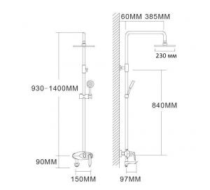 Душевая система Grohenberg GB7001 Chrome/Black