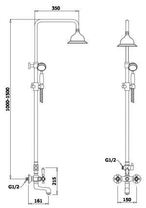 Душевая система GANZER GZ25068 Хром