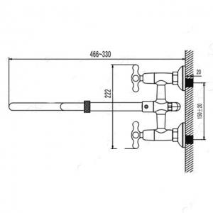 Cмеситель для ванны Elghansa Retro 2702554-W33 Bronze выдвижной излив