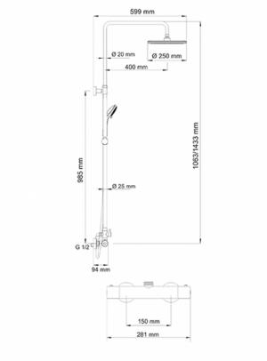 Душевая система WasserKRAFT A13302 Thermo