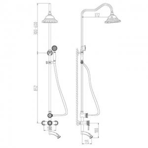 Душевая система ZorG Antic A 102DS-Bronze