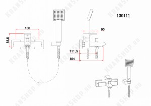 Однорычажный смеситель для ванны с душем Bennberg 130111 (бронза)