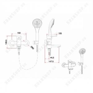 Однорычажный смеситель для ванны с душем Bennberg 130212 (бронза)