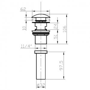 Донный клапан для раковины с переливом Bronze de Luxe 21976