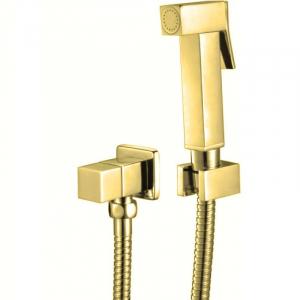 Гигиеническая лейка в наборе с вентилем без смесителя GANZER GZ2039E SET GOLD