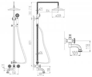 Душевая система ZorG Antic A 2002DS-Bronze
