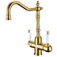 Смеситель Boheme Tradizionale Oro 112 для кухни золото / керамика белая
