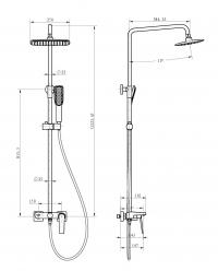 Душевая система Boheme Venturo 378-B Черный/Хром