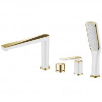 Смеситель на борт ванны Boheme Venturo 380-W Белый/Золото