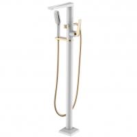 Смеситель для ванны напольный Boheme Venturo 389-W Белый/Золото