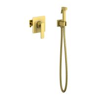 Смеситель встраиваемый с гигиеническим душем TIMO Torne 4389/17SM Золото матовое