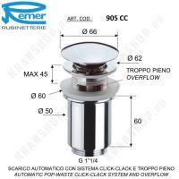 Донный клапан для раковины Remer 905CC114 Хром