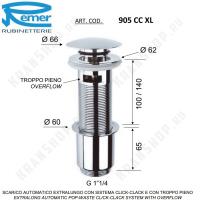 Донный клапан для раковины Remer 905CCXL114 Хром