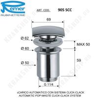 Донный клапан для раковины Remer 905SCC114 Хром