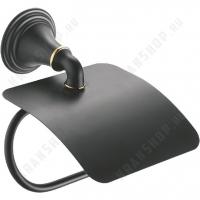 Бумагодержатель с крышкой Fixsen Luksor FX-71610B Черный/Золото