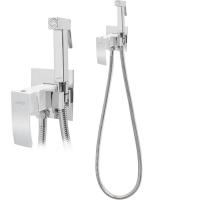 Смеситель встраиваемый с гигиеническим душем Hansberge CUBITO H3077W Белый с хромом