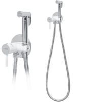 Смеситель встраиваемый с гигиеническим душем Hansberge NORDIC H3099W Белый с хромом