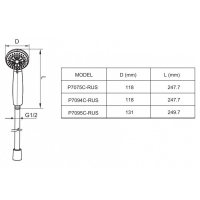 Душевая лейка Bravat Line P7075C-RUS Хром