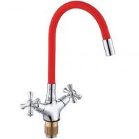 Смеситель для кухни с гибким изливом ViEiR V210122-K Хром/Красный
