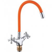 Смеситель для кухни с гибким изливом ViEiR V210122-L Хром/Оранжевый