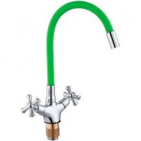 Смеситель для кухни с гибким изливом ViEiR V210122-Z Хром/Зеленый