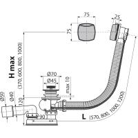 Обвязка для ванны AlcaPlast А55К d45 Хром