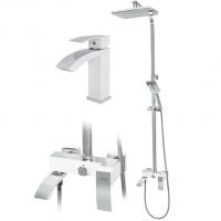 Набор для ванны 2 в 1 Hansberge CUBITO H5077W Белый с хромом