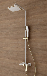 Душевая стойка Boheme Venturo 388-W Белый/Золото