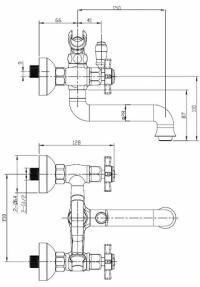 Cмеситель для ванны Elghansa Praktic 2312660 Bronze